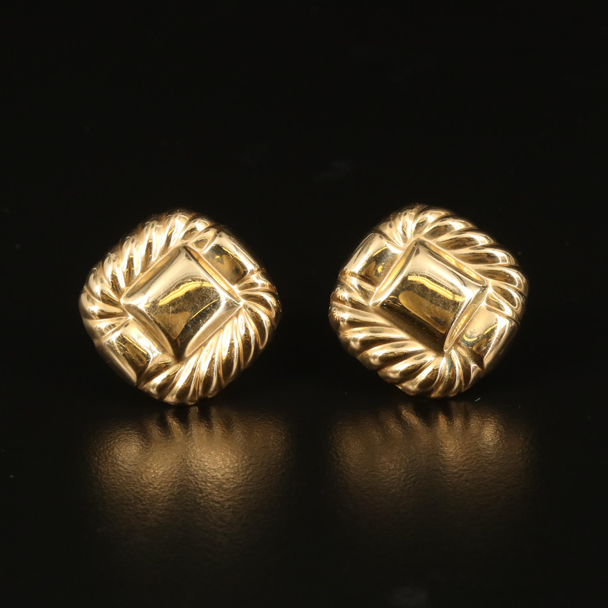14K Button Earrings with Rope Detail