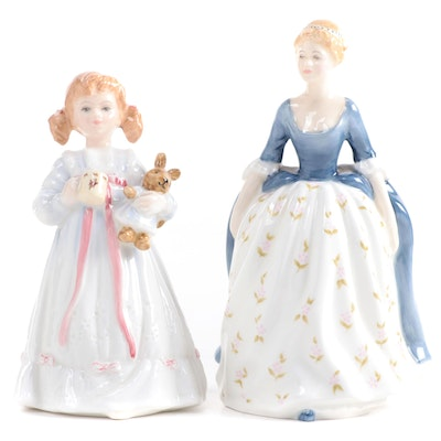 """Royal Doulton """"Bunny's Bedtime"""" and """"Alison"""" Bone China Figurines"""