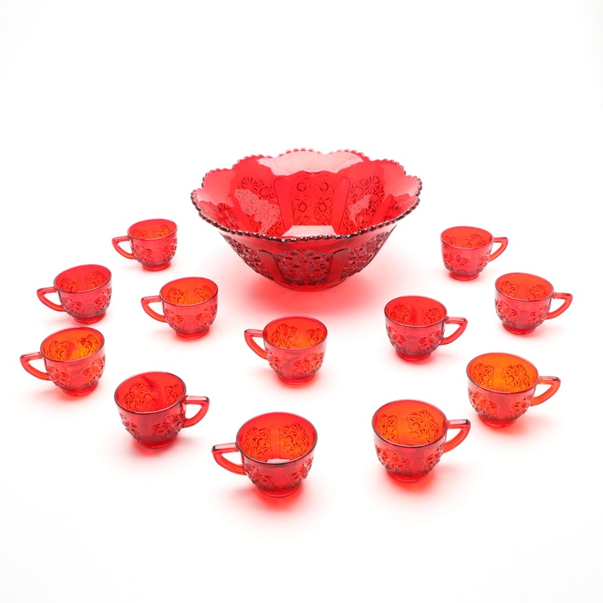 Ruby Amberina Glass Glass Punch Bowl with Cups