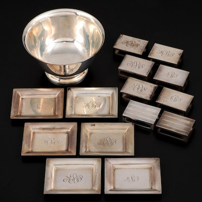 Tiffany & Co. Sterling Silver Bowl with Sterling Matchbook Covers and Trays