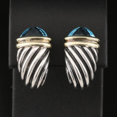 David Yurman Sterling Silver Shrimp Earrings with 14K Accents