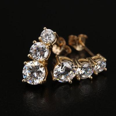 14K Graduated Cubic Zirconia Earrings