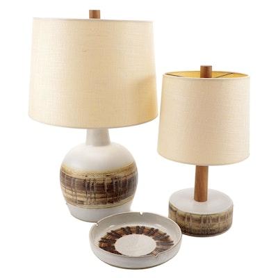 Gordon and Jane Martz for Marshall Studios Art Pottery Table Lamps and Ashtray