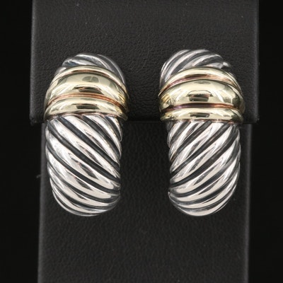 """David Yurman """"Thoroughbred"""" Sterling Shrimp Earrings with 14K Accents"""
