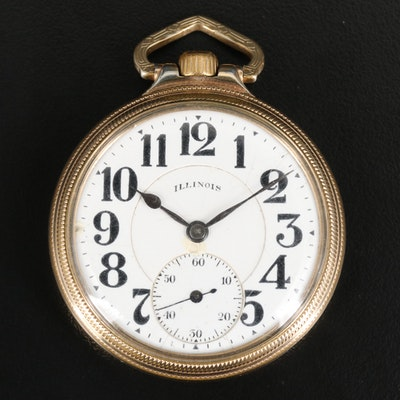 1918 Illinois Railroad Grade 10K Gold Filled Pocket Watch