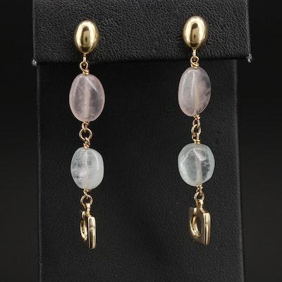 Italian 14K Rose Quartz and Aquamarine Earrings