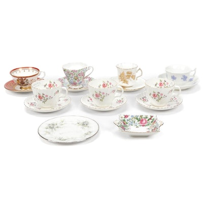 Royal Standard, Adderley And Other Bone China Tea Cups And Saucers