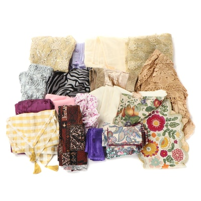 Assorted Fabric, Tablecloths, and Napkins