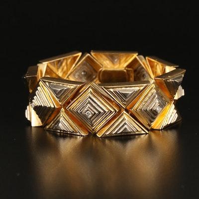 Greek 18K Diamond Geometric Stepped Bracelet