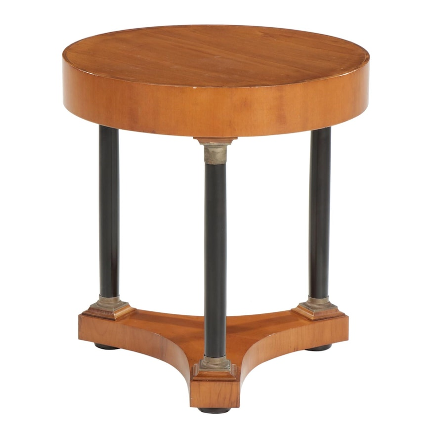Italian Empire Style Metal-Mounted and Parcel-Ebonized Center Table