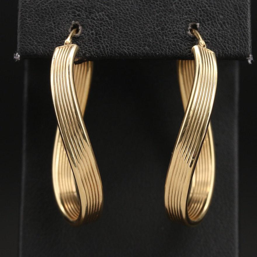 Italian 14K Elongated Hoop Earrings