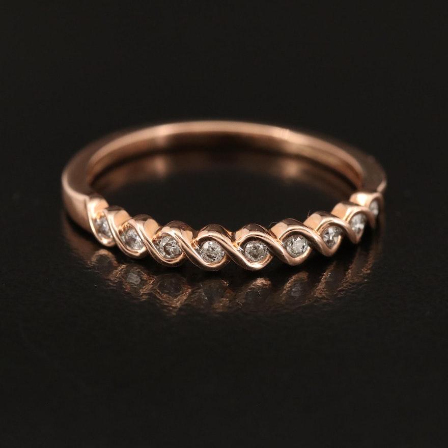 10K Rose Gold Diamond Band