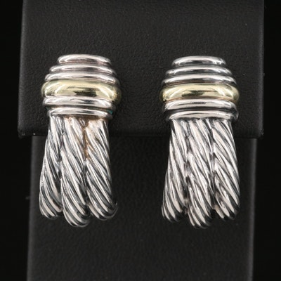 Vintage David Yurman Sterling Silver Earrings with 14K Accents