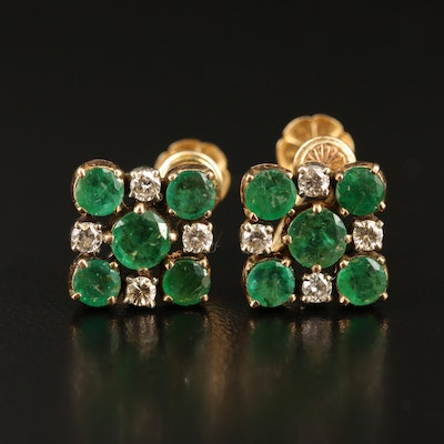 10K and Sterling Silver Emerald and Diamond Earrings