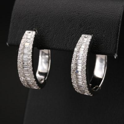 14K 2.86 CTW Diamond Oblong Hoop Earrings