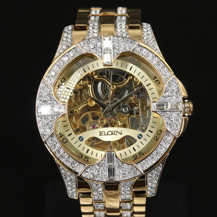 Elgin Skeleton Crystal Accented Gold Tone Automatic Wristwatch