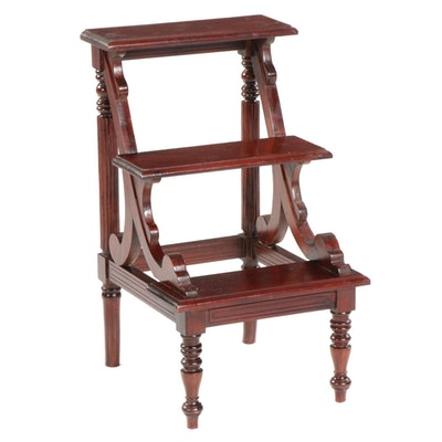 William IV Style Mahogany Library Steps, Late 20th Century