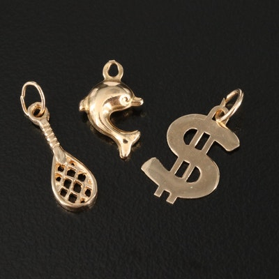 14K and 10K Charms Featuring Dolphin, Racket and Dollar Sign