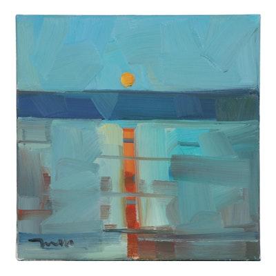 "Jose Trujillo Oil Painting ""Land of the Setting Sun,"" 2021"