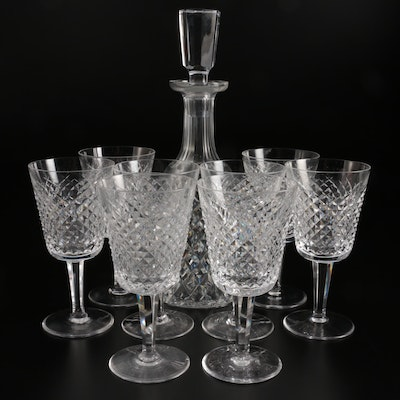 """Waterford """"Alana"""" Crystal Water Goblets and Wine Decanter with Stopper"""