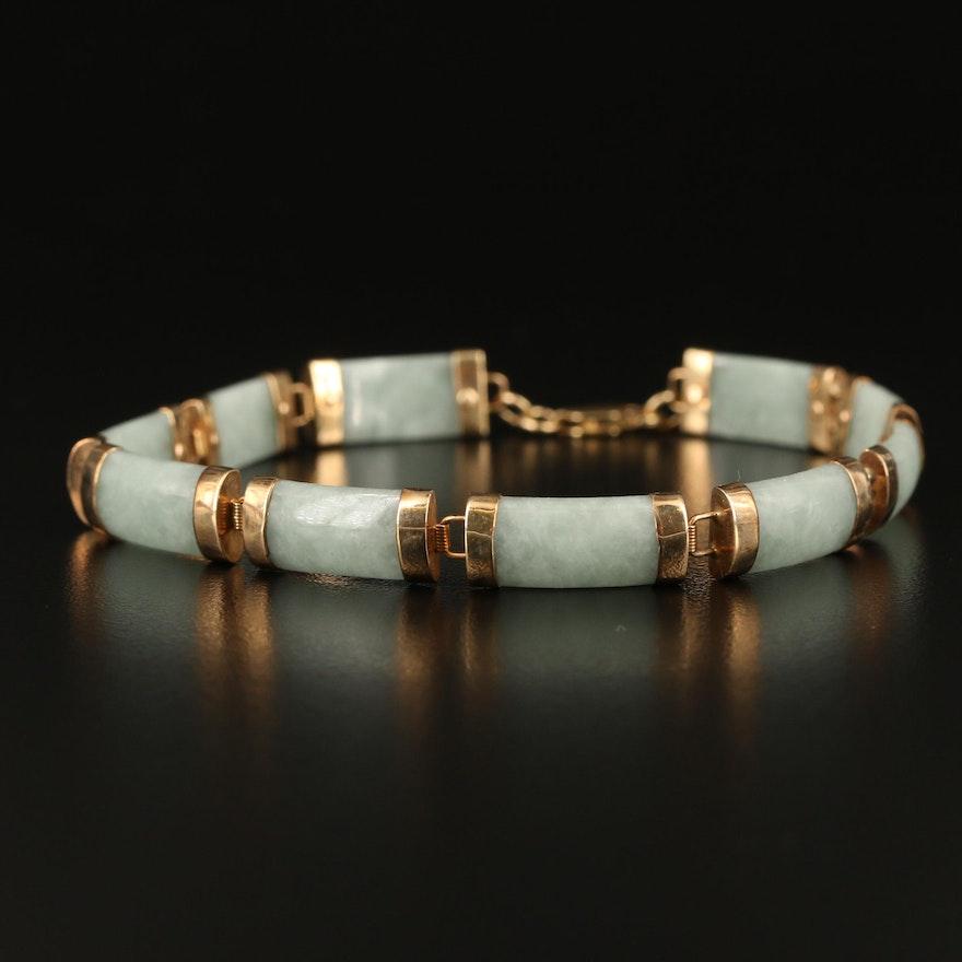 10K Jadeite Bar Link Bracelet