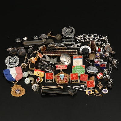 Military and Commemorative Pins Including Sterling and 10K