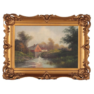 Landscape Oil Painting of Cabin With Watermill, Mid-20th Century