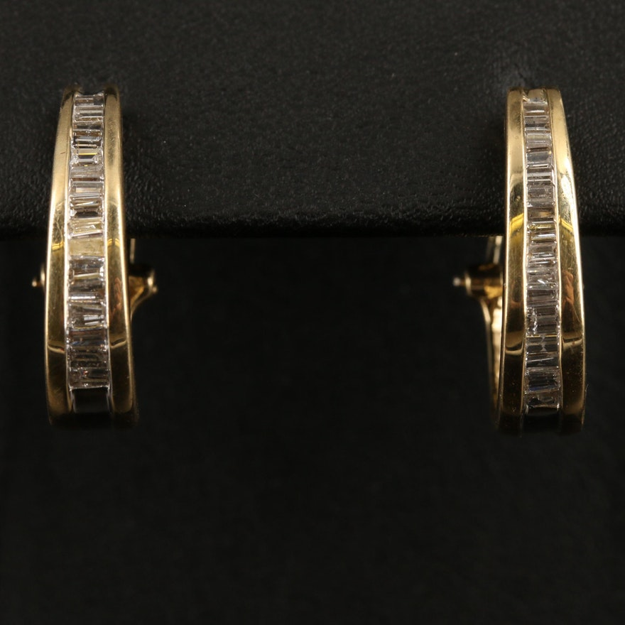 14K Diamond Channel Earrings