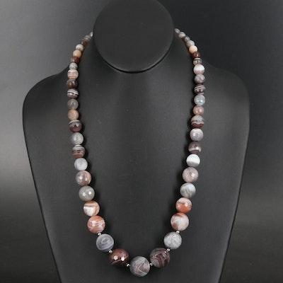 Graduated Faceted Agate Necklace with Sterling Clasp
