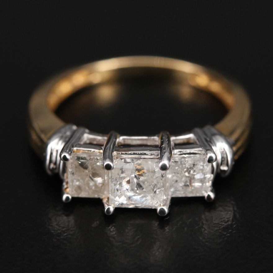 14K 1.26 CTW Diamond Three Stone Ring