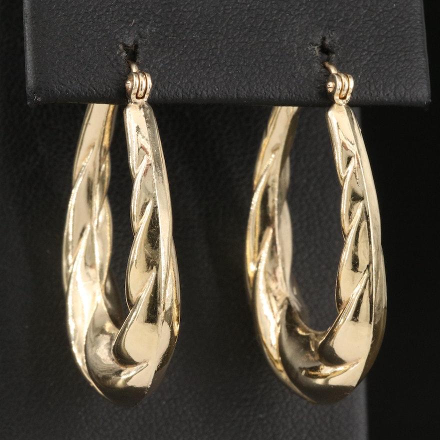 14K Twist Oval Hoop Earrings