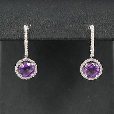 14K Amethyst and Diamond Halo Drop Earrings