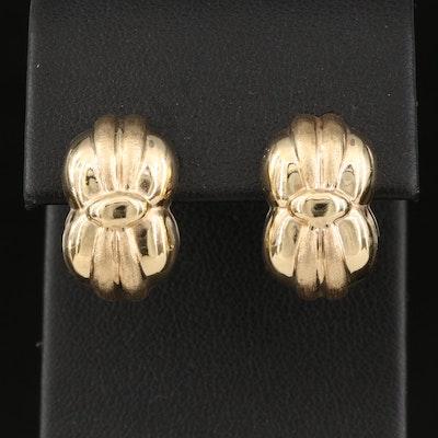 Italian 14K Electroformed Cinched Earrings