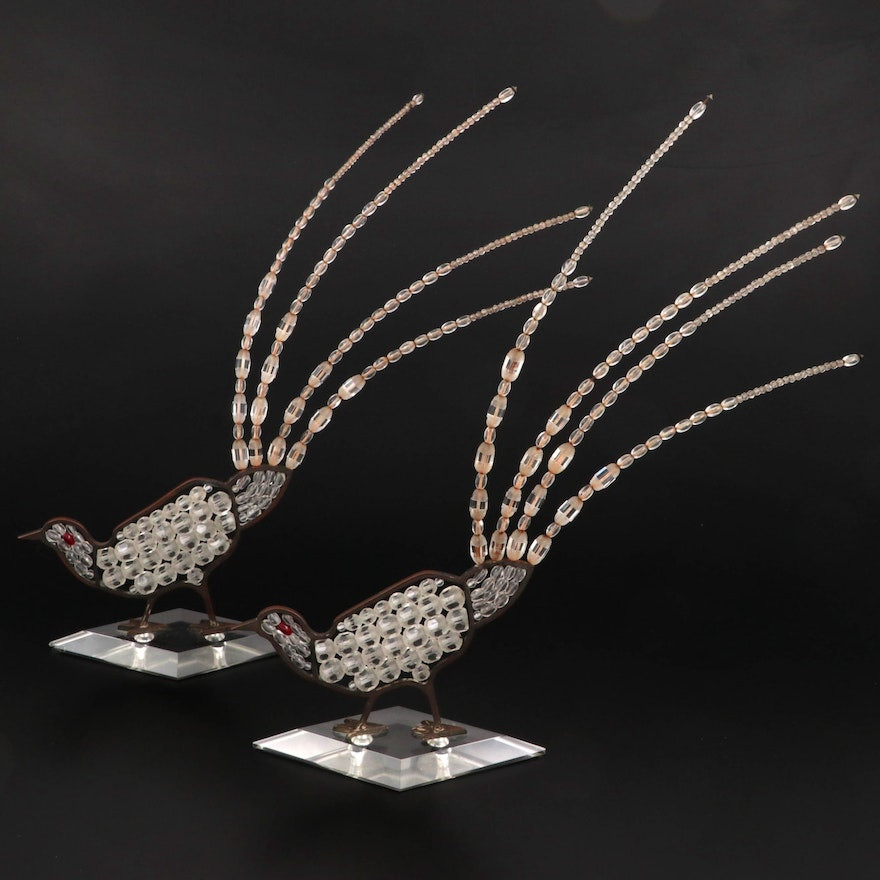 Art Deco Czech Crystal Bead Work Pheasant Figurines, Early to Mid 20th Century
