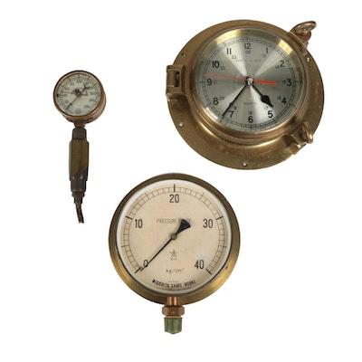Brass Ship Clock and Pressure Gauges