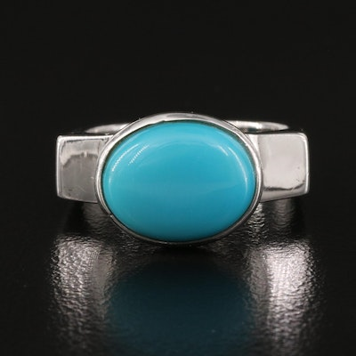 Sterling Silver Turquoise Ring with Euro Shank