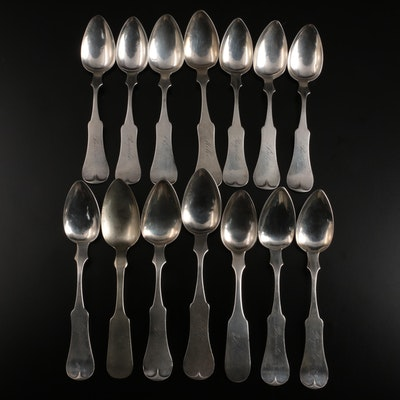 Edward and David Kinsey with Other Coin Silver Spoons, Mid-19th Century