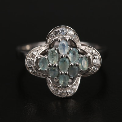 Sterling Quatrefoil Style Alexandrite and Zircon Ring