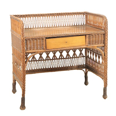 Victorian Oak and Wicker Desk and Associated Chair, Late 19th or Early 20th C.