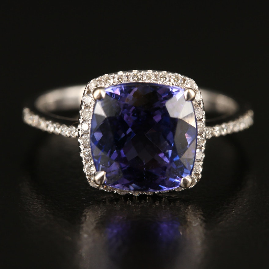 18K Tanzanite Ring with Diamond Halo and Shoulders