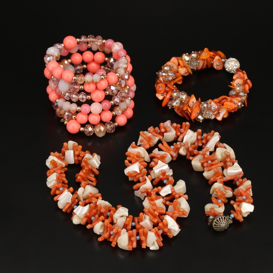 Jewelry Including Shell, Coral and Other Gemstones