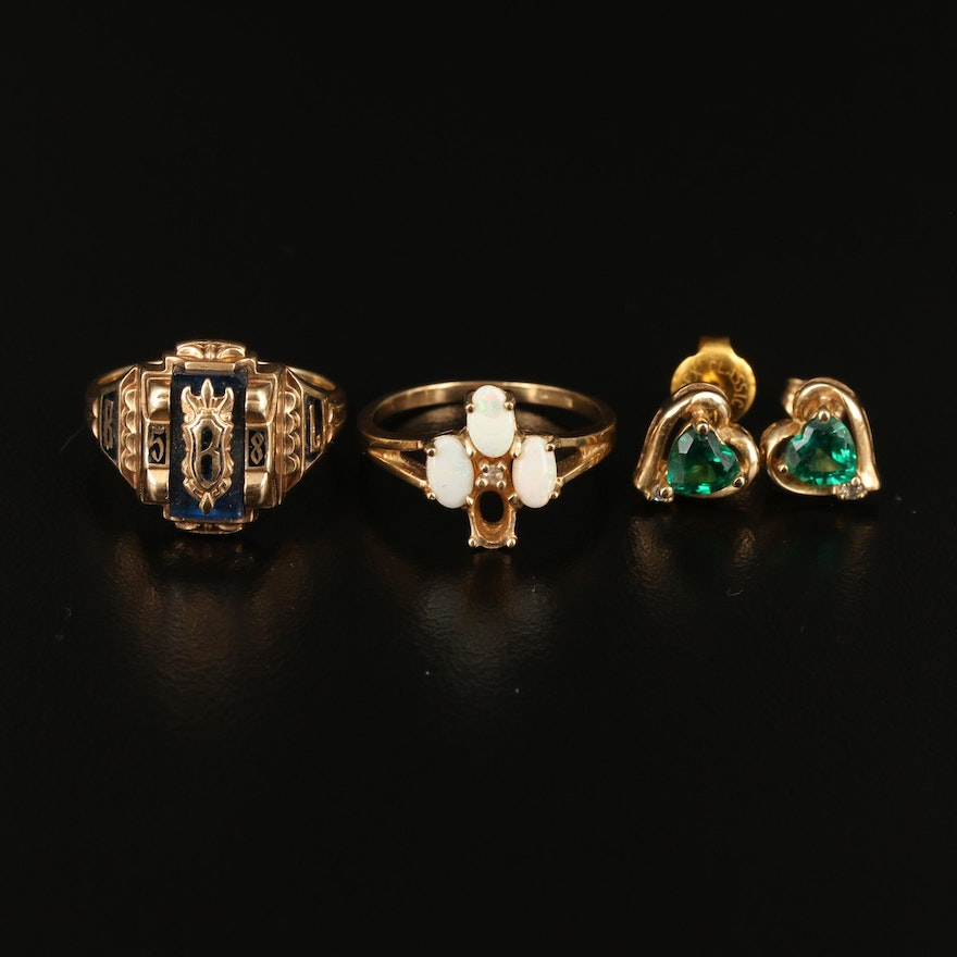 Vintage 10K Jewelry Featuring and Jostens 1958 Class Ring