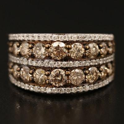 14K 1.90 CTW Diamond Multi-Row Ring