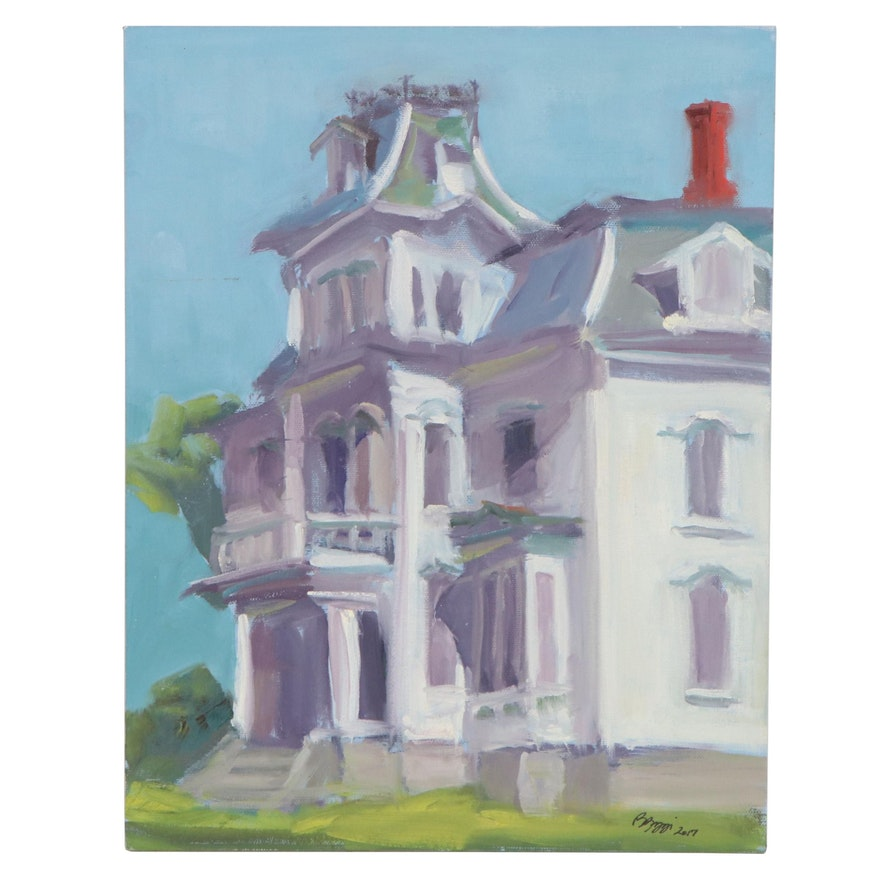 Rita Rozzi Oil Painting of a House in Rockland, Maine, 2017