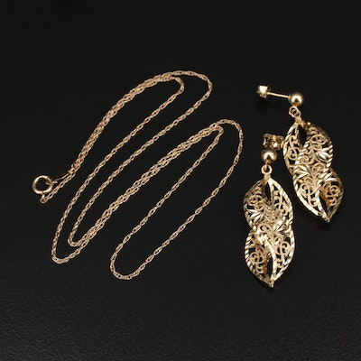 14K Singapore Chain Necklace and Floral Cutout Earrings