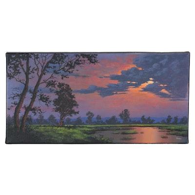 "Douglas ""Bumo"" Johnpeer Sunset Landscape Oil Painting, 2021"