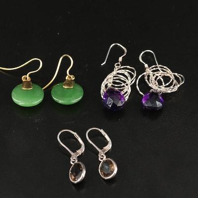 Sterling Amethyst, Smoky Quartz and Gemstone Earrings