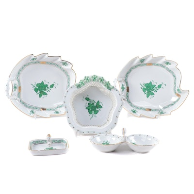 """Herend """"Chinese Bouquet Green"""" Porcelain Vanity Accessories, Late 20th Century"""