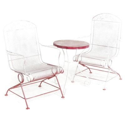 Painted Iron Diamond Mesh Patio Chairs and Side Table, Late 20th Century