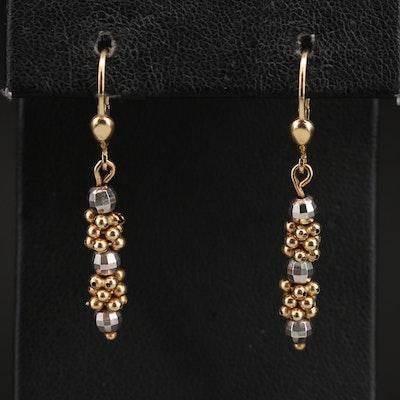 14K Two-Tone Beaded Drop Earrings